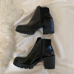 Zara chunky heel black ankle boots